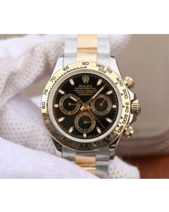 Rolex Daytona 116523 Thick YG Wrapped Black Dial Sticks Markers SS/YG Bracelet A7750