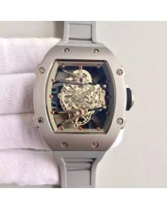 Richard Mille RM027 SS Skeleton Dial Gray Rubber Strap 6T51
