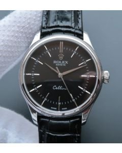 Rolex MK Cellini Time 50509 SS Black Dial Leather Strap A3165