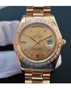 Rolex Day Date II RG Gold Dial Diamonds Bezel White/Red Crystal Markers RG Bracelet A3255