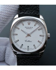 Rolex Cellini Danaos 4243 SS White Dial Black Leather Strap A2824