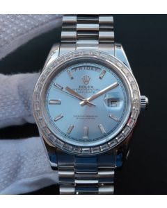 Rolex Day Date SS Diamonds Bezel Ice Blue Dial Crystal Markers SS Bracelet A3255