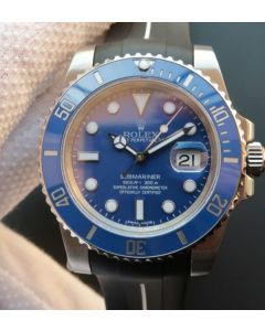 Rolex Submariner 116619 LB Blue Ceramic Noob V7 Black Rubber Strap A3135