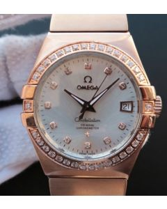 Omega V6 Constellation RG White Dial Diamonds Bezel RG Bracelet A2500