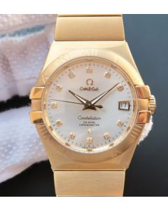 Omega V6 Constellation YG White Dial Diamonds Markers YG Bracelet A2500