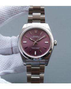 Rolex Oyster Perpetual 39mm 114300 Red Grape Dial on SS Bracelet SH3132