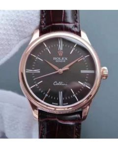 Rolex MK Cellini Time 50505 RG Rome Leather Strap A3165