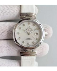 Omega De Ville Lady SS White Dial Leather Strap A8520