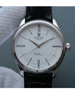 Rolex MK Cellini Time 50509 SS Rome White Dial Leather Strap