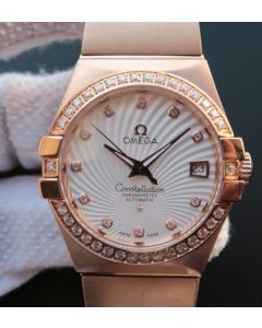Omega V6 Constellation Diamonds Bezel White Textured Dial RG Case A2500