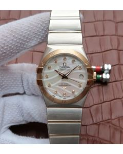 Omega V6 Constellation Diamonds Bezel YG Bezel White Textured Dial A2500