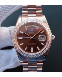 Rolex Day-Date 41mm 218399 RG Brown Dial Diamonds Bezel RG Bracelet A3255