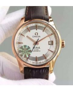 Omega V6F De Ville Hour Vision Co-Axial 41mm RG White Dial Brown Leather Strap A8500