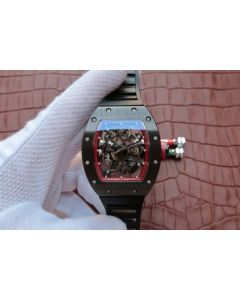 Richard Mille RM055 Black Ceramic Red Inner Bezel Skeleton Dial Black Rubber Strap MIYOTA8215