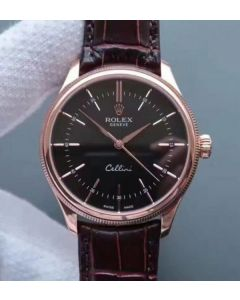 Rolex MK Cellini Time 50505 Black Dial RG Leather Strap A3165