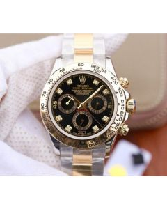 Rolex Daytona 116523 Thick YG Wrapped Black Dial Diamonds Markers SS/YG Bracelet A7750