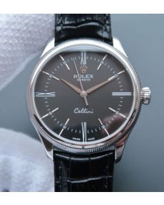 Rolex MK Cellini Time 50509 Black Dial Leather Strap A3165