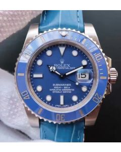 Rolex Submariner 116619 LB Blue Ceramic Noob V7 Leather Strap A3135