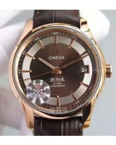 Omega V6F De Ville Hour Vision Co-Axial 41mm RG Brown Dial Brown Leather Strap A8500