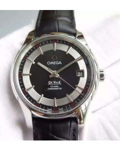 Omega V6F De Ville Hour Vision Co-Axial 41mm SS Black Dial Black Leather Strap A8500