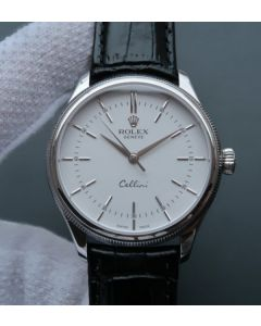 Rolex MK Cellini Time 50509 SS White Dial Leather Strap