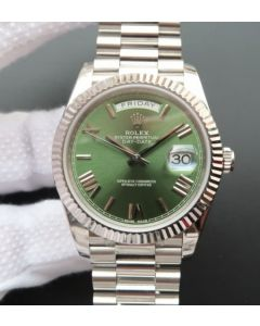 Rolex Day-Date 40mm 228239 Noob Olive Green Dial SS President Bracelet A3255