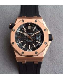 Audemars Piguet Noob Royal Oak Offshore Diver 15730 RG Black Dial Rubber Strap A3120