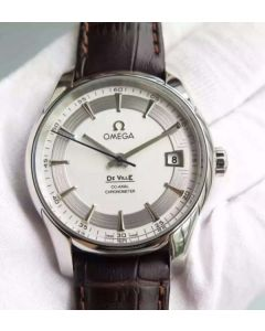 Omega V6F De Ville Hour Vision Co-Axial 41mm SS White Dial Brown Leather Strap A8500