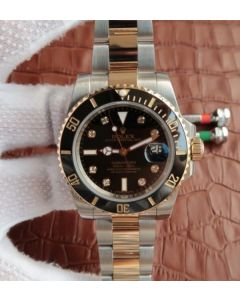 Rolex Submariner 116613 LN Noob Black Dial Diamonds Markers SS/YG Bracelet A3135