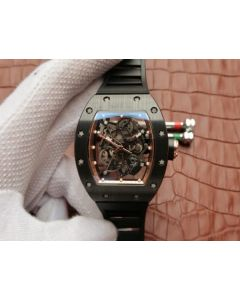 Richard Mille RM055 Black Ceramic RG Inner Bezel Skeleton Dial Black Rubber Strap MIYOTA8215