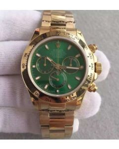 Rolex Daytona 116518 YG Green Dial on YG Bracelet A4130