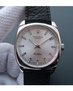Rolex Cellini Danaos 4243 SS Silver Dial Black Leather Strap A2824