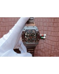 Richard Mille RM055 Brown Ceramic Brown Inner Bezel Skeleton Dial Brown Rubber Strap MIYOTA8215