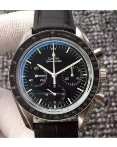 Omega Speedmaster MoonWatch NASA SS Black Dial Leather Strap Manual Winding