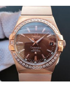 Omega V6 Constellation Diamonds Bezel RG Case Brown Dial A2500
