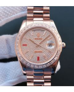 Rolex Noob Day-Date 218399 RG Full Diamonds A3255