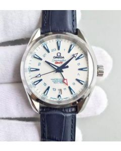 Omega Seamaster CO-AXIAL 150M GoodPlanet SS GMT White Dial Leather A8605