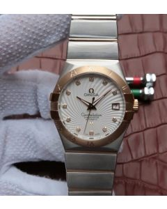 Omega V6 Constellation 35mm YG Bezel White Textured Dial SS Bracelet A2500