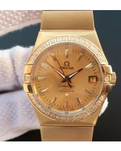 Omega V6 Constellation YG Dial Diamonds Bezel YG Bracelet A2500