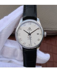 Omega V6 De Ville 41mm SS White Dial Black Leather Strap A8500