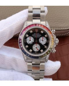 Rolex Daytona 116599 Colorful Crystal Bezel Black Dial SS Bracelet A7750