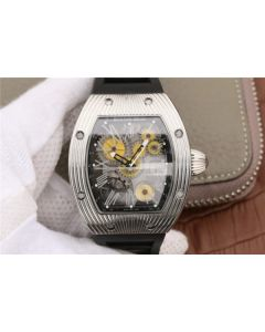 Richard Mille RM018 Hommage a Boucheron SS Yellow Skeleton Dial Black Rubber Strap 6T51