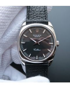 Rolex Cellini Danaos 4243 SS Black Dial Black Leather Strap A2824